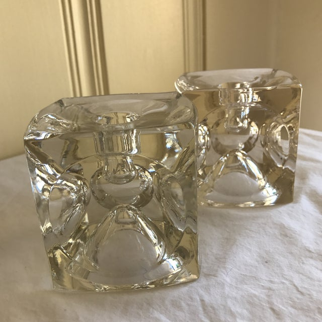 Artisan Geometric Glass Candle Holders - A Pair For Sale - Image 11 of 11