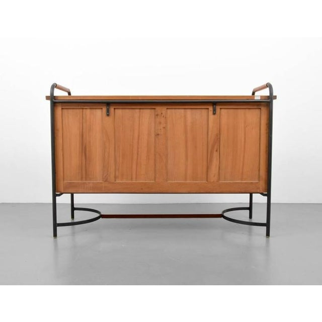 Mid-Century Modern 1950s Jacques Adnet Equestrian Style Leather, Ash and Iron Cabinet For Sale - Image 3 of 3