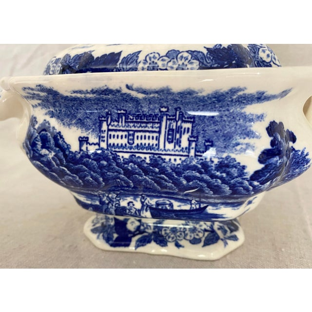 Vintage Blue and White Gravy Boat For Sale - Image 10 of 13