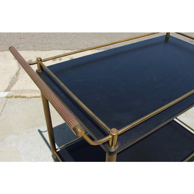 Gold Maxwell Phillip Brass Bar Cart With Black Shelves For Sale - Image 8 of 9