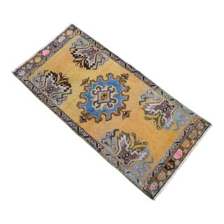 Distressed Low Pile Turkish Yastik Petite Rug Hand Knotted Faded Mat - 20'' X 42'' For Sale