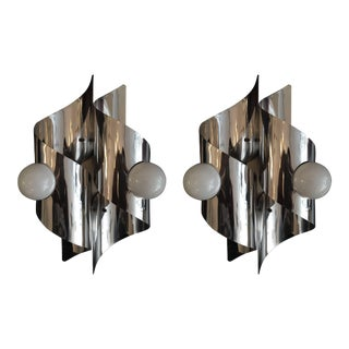 1960s Italian Sculptural Wall Lights - a Pair For Sale