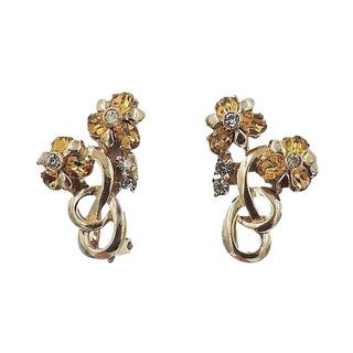 Late 1940s Pennino Faux-Citrine Rhinestone Flower Earrings For Sale