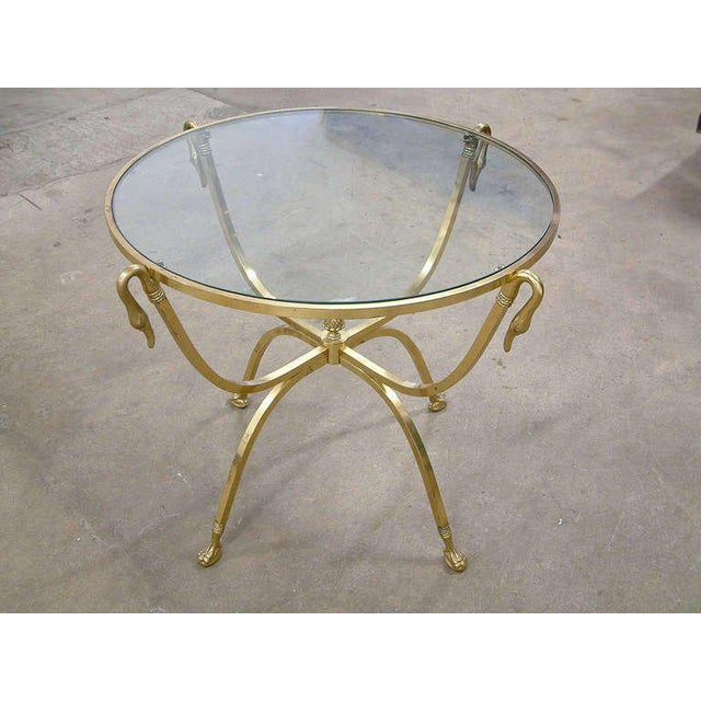Italian Brass and Glass Swan Motif Table in the Style of Jansen For Sale In Richmond - Image 6 of 7