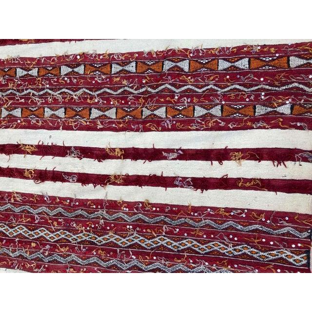 1960s Moroccan Vintage Tribal Kilim Handira Rug, circa 1960 For Sale - Image 5 of 13