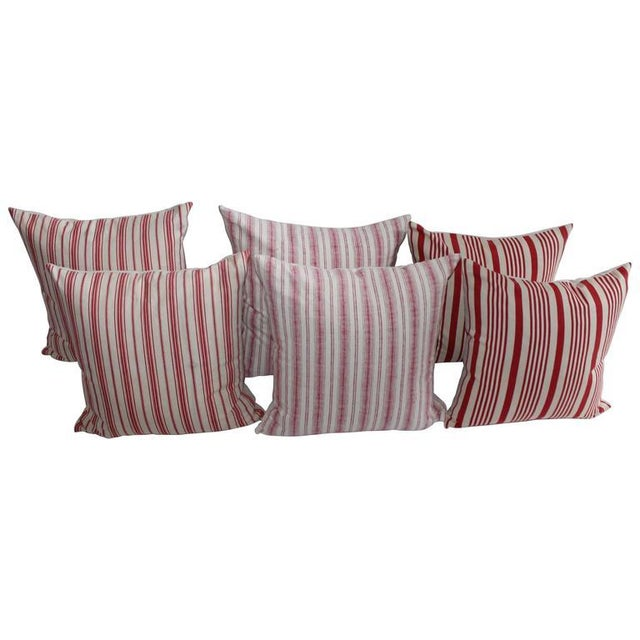 19th Century Red Ticking Pillows, Pair - Image 1 of 8