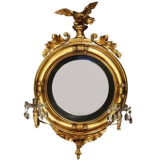 Diminutive Federal or Regency Girandole Mirror With Egyptian Motifs For Sale