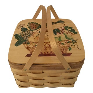 Hand Painted Vermont Picnic Basket For Sale