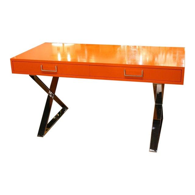 Milo Baughman Orange Lacquered Campaign Desk For Sale