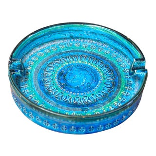 Mid 20th Century Blue Bitossi Ceramic Catch All Tray For Sale