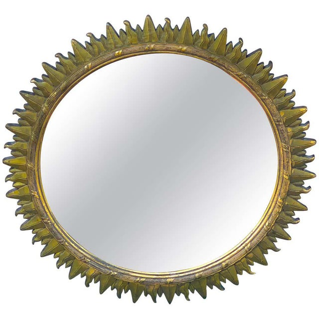 French Modern Giltwood Sunburst Mirror For Sale In West Palm - Image 6 of 6