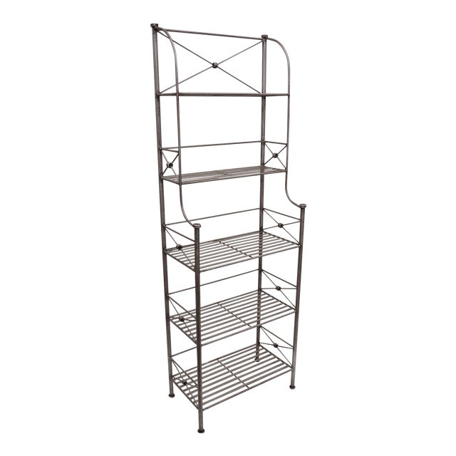 Pier 1 Medici Collection Pewter Iron Bakers Rack Shelf / Bathroom Stand Etagere For Sale
