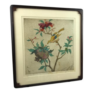 Framed Elyse Ashe Lord Signed Bird With Nest Engraving For Sale
