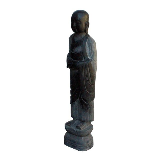 Chinese Black Gray Stone Carved Standing Monk Lohon Statue For Sale - Image 4 of 7