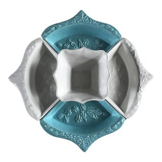 Mid-Century Whittier Aqua and White 5 Piece Lazy Susan For Sale