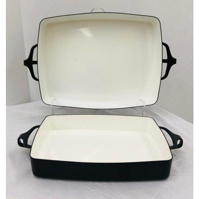 Mid-Century Modern Vintage Black & White Enamel Casserole Dishes by Dansk - Set of 2 For Sale - Image 3 of 11