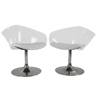 Chrome & Lucite Space Age Chairs - A Pair For Sale