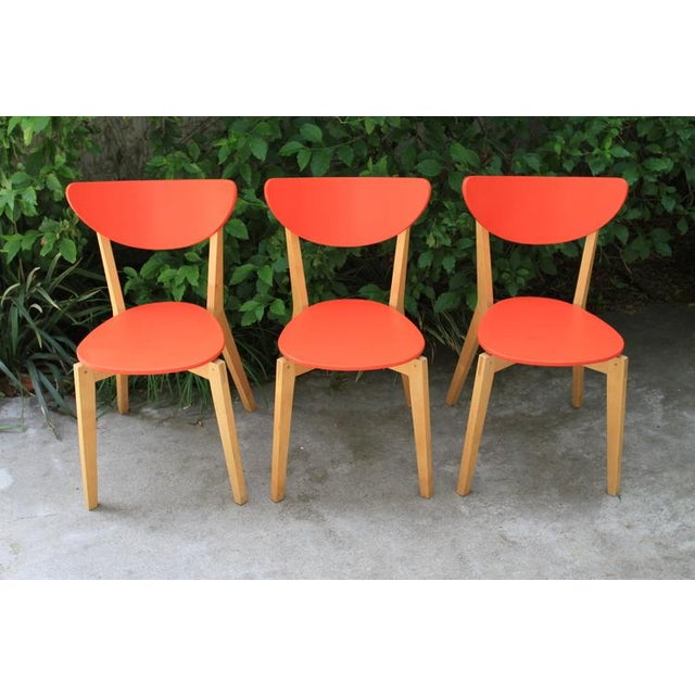 Mid Century Tangerine Chairs - Set of 3 - Image 3 of 8