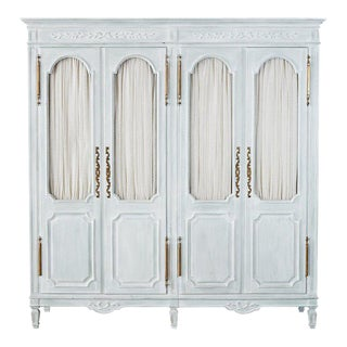 Louis XVI Gustavian Style Painted Wardrobe Armoire For Sale