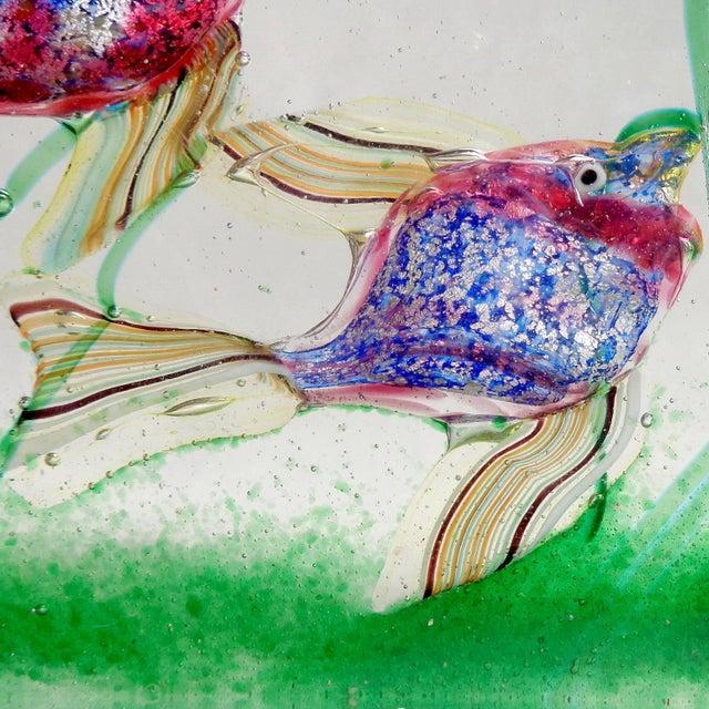 Murano Cenedese Murano Pink Blue Silver Fish Italian Art Glass Aquarium Block Sculpture For Sale - Image 4 of 8