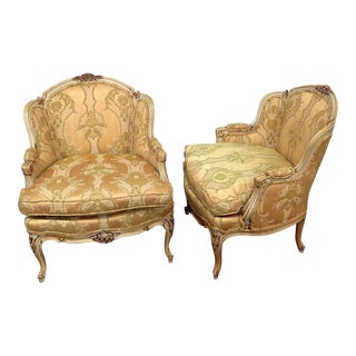 Vintage Mid Century Drexel Heritage Louis XVI Style Bergere Chairs- A Pair For Sale