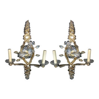 French Bagues Crystal Beaded Double Light Sconces - a Pair For Sale