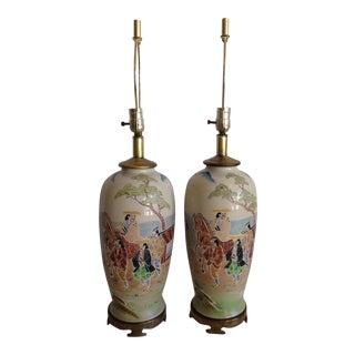 Japanese Porcelain Satsuma Hand Painted Moriage Lamps - a Pair