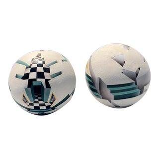 1990s Signed Optical Illusion Modernist Spheres - A Pair For Sale