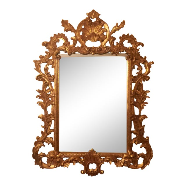 Gold Gilt Ornate Wood Wall Mirror - Image 1 of 6