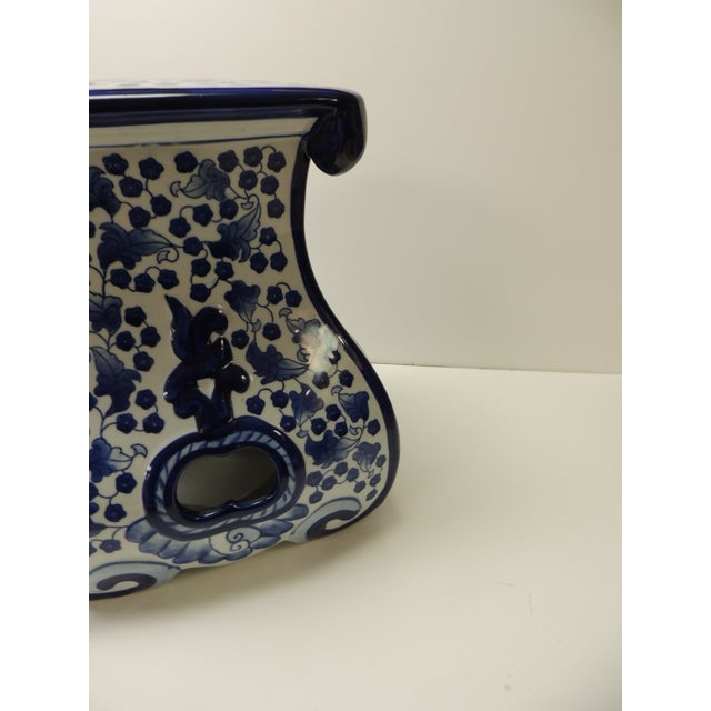 Vintage Blue and White Ceramic Painted Garden Stool For Sale In Miami - Image 6 of 7