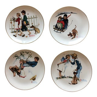 """Vintage Norman Rockwell Collectible Plates: """"Four Seasons Series for 1949"""" - Set of 4 For Sale"""