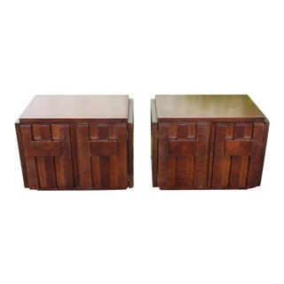 Brutalist Mid Century Modern Nightstands by Lane-a Pair For Sale