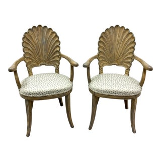 Pair Carved Shell Back Chairs in Leopard For Sale
