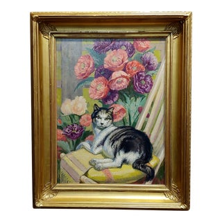 Beautiful Cat Surrounded by Still Life of Flowers - Oil Painting -C.1900 For Sale