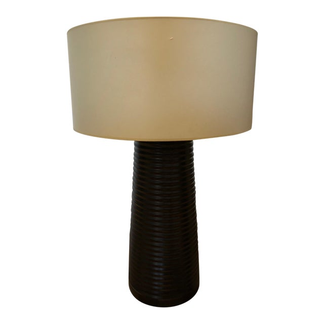 Designer Brown Cylindrical Table Lamp - Image 1 of 6