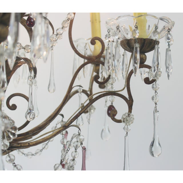 Antique Italian Gold Leaf Crystal Chandelier - Image 7 of 10
