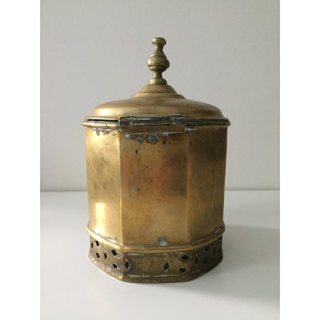 Mid 20th Century Primitive Moorish Brass Octagonal Kettle / Container For Sale - Image 5 of 9