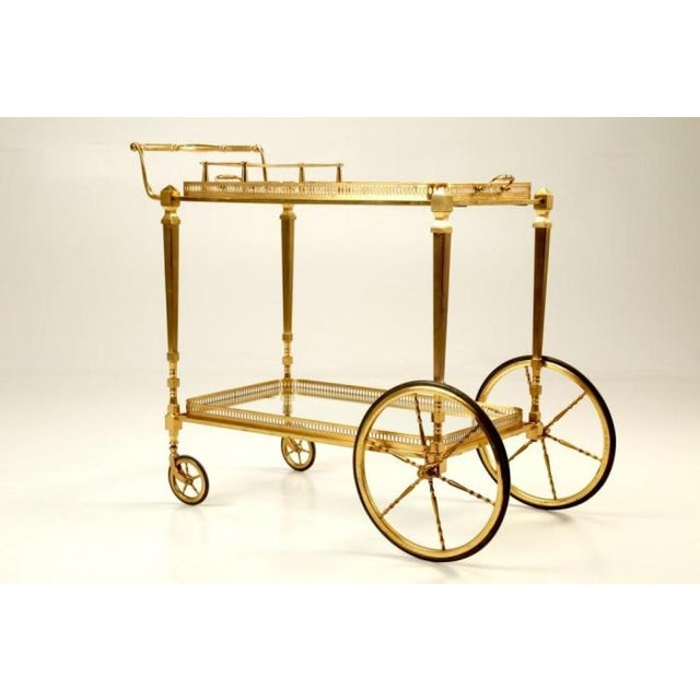 Vintage French Brass Bar Cart With Tray For Sale - Image 11 of 11