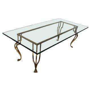 Gilt Iron Base Coffee Table With Plate Glass Top For Sale