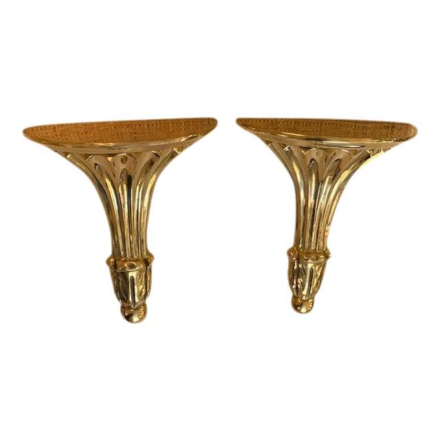 Vintage Brass Fluted Wall Shelves/Brackets For Sale