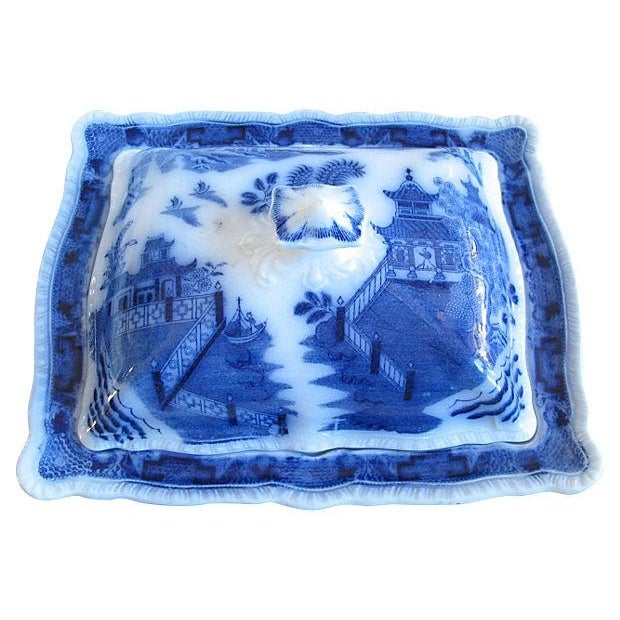 Antique Flow Blue Willow Tureen - Image 2 of 3