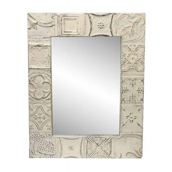 2000s Traditional Cream White Mixed Tin Patch Mirror For Sale - Image 5 of 5