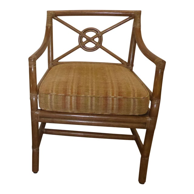 Vintage Mid Century Modern McGuire Tan Stripped Bamboo Rattan Accent Chair For Sale