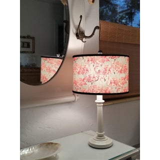 Pink Flamingo on Gray Cotton Oval Drum Lampshade Preview