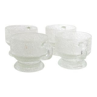 Mid Century Frosted Cups Attr Tapio Wirkkala Ultima Thule Mugs Iittala For Sale