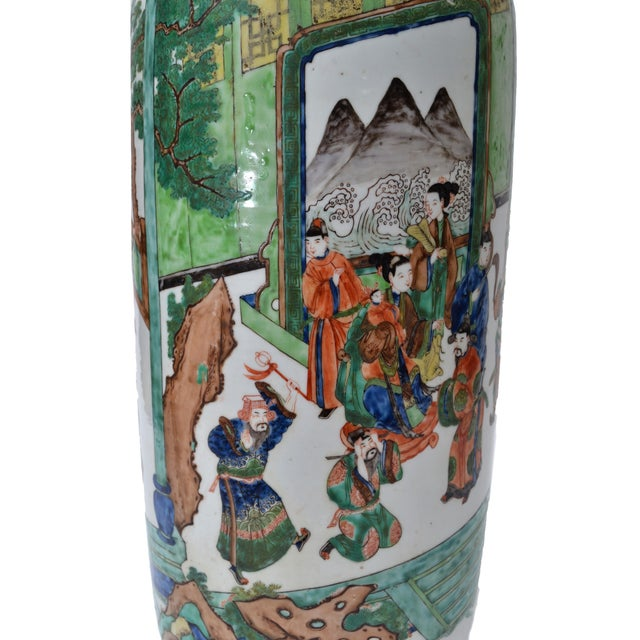Metal Signed Hand-Painted Chinese Porcelain Table Lamp with Original Shade For Sale - Image 7 of 9