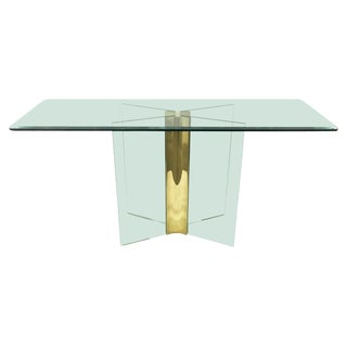 1970s Mid-Century Modern X Brass and Glass Pace Collection Console Table For Sale
