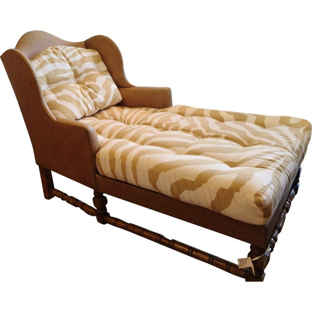 Wingback Chaise in Scalamandre Zebra - Image 1 of 3