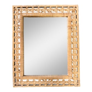 Mid 20th Century Braided Rattan Wall Mirror For Sale