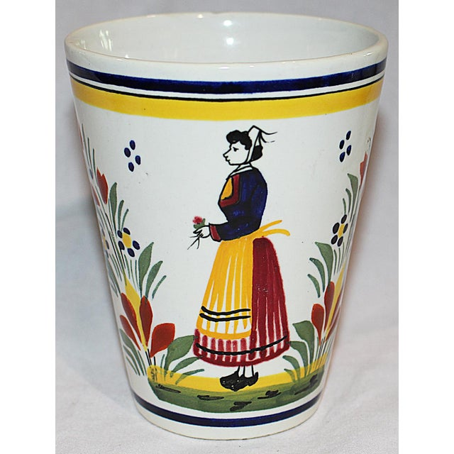 French Provincial Henriot Quimper Faience Coffee Mug For Sale - Image 3 of 6